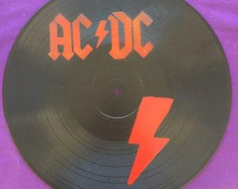 AC/DC Spray Painted Record Clocks