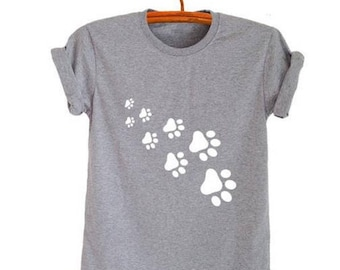 cat paws print Women tshirt Cotton Casual Funny t shirt For Lady Top Tee Hipster gray black white