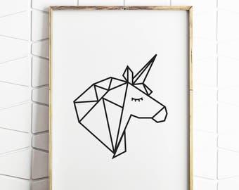 unicorn gift, unicorn party, unicorn decor, unicorn wall art, unicorn print, geometric art, origami animals, origami print, wall art