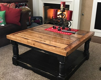 Country Style Coffee table with Reclaimed wood top