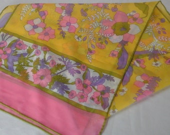 Baar & Beards polyester scarf, yellow and pink.