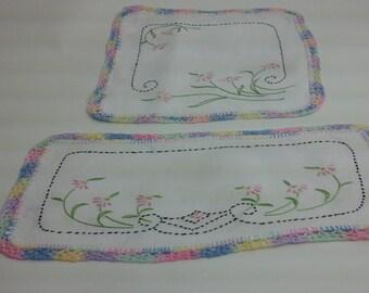 Set of floral doilies with rainbow, crochet edges