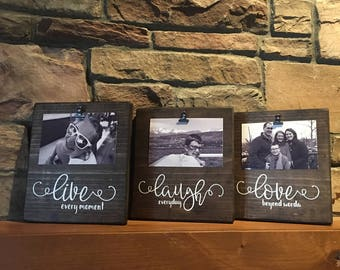 Live Laugh Love frames, Clip Frames, Rustic Decor