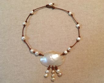Pearl, Abalone Pearl Shell and Leather Necklace