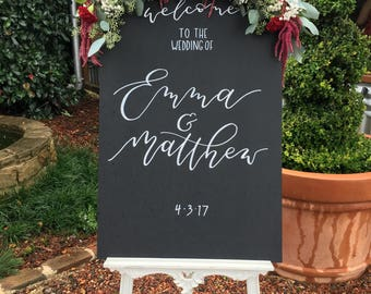 Wedding Welcome Sign | Wedding Sign | Wedding Chalkboard | Rustic Wedding | Modern Calligraphy Sign | Wedding Signs