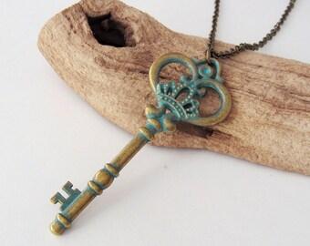 Big Skeleton Key Necklace - Patina Verdigris Key - Antique Bronze Chain