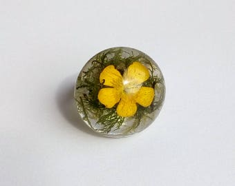 Real Flower Ring, Flower Ring, Buttercup Ring, Flower Resin Ring, Resin Flower Ring, Pressed Flower Jewelry, Buttercup Resin Ring
