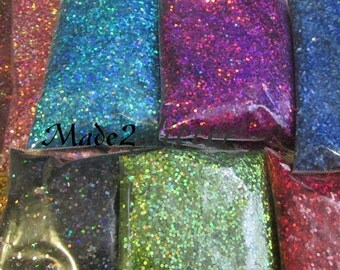 Holographic Chunky Solvent resistant Hexagon glitter in 0.062 set of 10