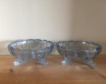 Gorgeous Vintage Pale Blue Pressed Glass Dessert Bon Bon Dishes Bowls