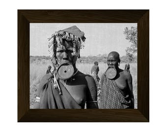 indigenous people, tribal art, african tribes, ethnic wall art, black and white prints, wall art prints, photo poster, mursi portrait