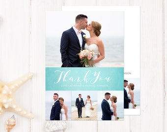 Wedding Thank You Card with Photo, Printed Wedding Thank You, Beach Wedding Thank You Cards Printed, Photo Thank You Cards