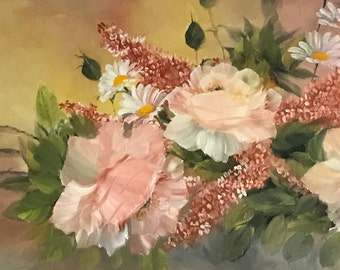 Peach Roses Oil Painting, Hand Painted Roses, Pink Roses, Bouquet of Roses, Original Painting of Roses