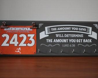 Birthday Gift For Runners - Running Medal Holder - The Amount You Give; Luke 6:38