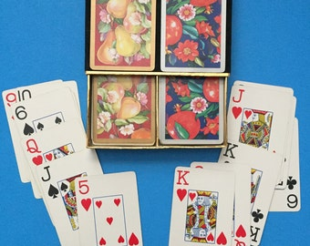 Pear and Pomegranate Congress Double Deck Playing Cards;   Vintage;  Pear and Pomegranate Patterned Card Decks;  Made in Spain