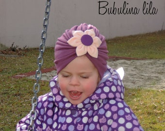 Turban hat with flower girl baby transitional Cap