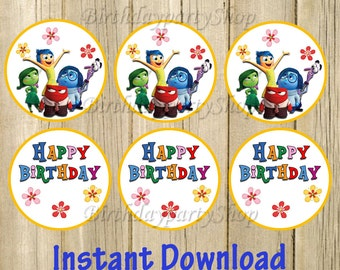 Inside Out Cupcake Toppers ,Inside Out Birthday Circles, Instant Download, Digital File