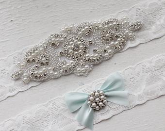Something blue Wedding Garter Set NO SLIP grip vintage rhinestones pearl lace rhinestone, pearl garter
