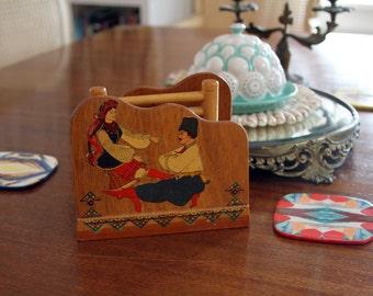 Ukrainian Dancers Napkin Holder Folk Art Hand Made Collage on Wood