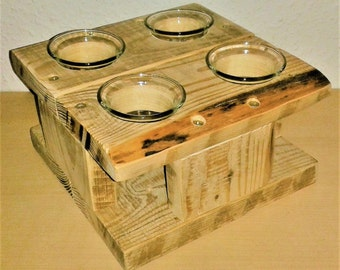 Upcycling tea light holder from Palettehholz, natural, with 4 tea light glasses