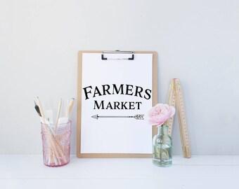 Farmers Market | *FREE SHIPPING*, Instant Download Art, Modern Kitchen Print, Farmhouse Print