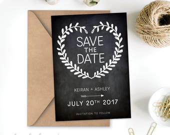 Rustic Save The Date Wedding Invitation Printable, Floral leaves Antique Flowers Leaves Bridal Shower chalkboard card personalised flowers