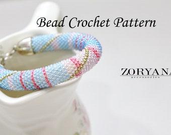 Bead Crochet Pattern Crocheting Scheme Bracelet DIY Jewelrymaking Bead Crochet Rope