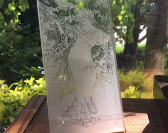 Custom Photo Engraving on Clear Acrylic. Great for a gift, Mother's Day or Wedding. Laser engraving, Laser Etched. Photo Gift.