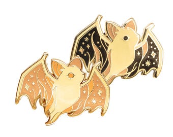Ghost Bat Glow In The Dark Enamel Lapel Pin Badge / Artist Series pin by Teagan White / Cute Spooky Dead Animal Friend Forest Creature