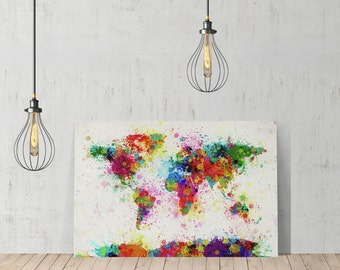 Decorative World Map Water Color Decorative Art Canvas Print Modern Wall Décor /Home Decoration/ Wall Art/Gallery Wrapped/Ready to Hang