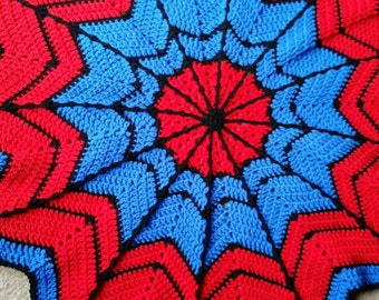 Spider-Man crochet baby blanket, spiderman baby, red, blue, black, spider