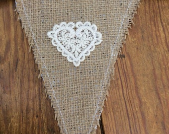Beautiful Hessian and Lace Bunting
