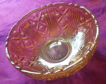 Vintage art deco glass luminescent trifle bowl, large