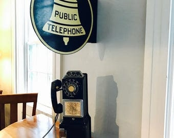 Vintage Automatic Electric Co. Payphone with Double Sided Porcelain Public Payphone Sign
