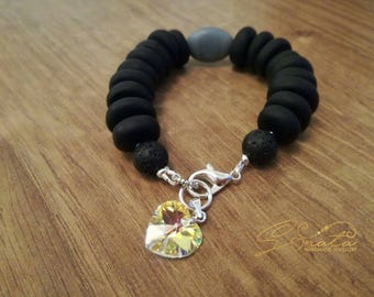 Handmade beaded bracelets made by sonata jewellery swarovski pendant
