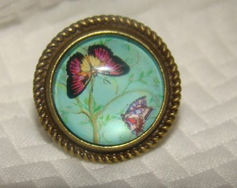 Beautiful Butterfly Turquoise and Purple Ring