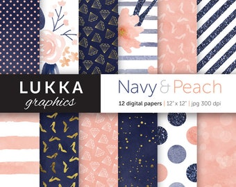 Navy and peach digital paper pack; digital patterns; watercolor, glitter and gold; flowers, high heels, diamonds, dots, stripes