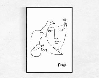 picasso print head u0026 dove modern minimalist female sketch drawing nude sketch