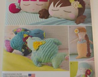 Simplicity Pattern 8067 Stuffed Doll Face Pillows, Mermaids and Birds