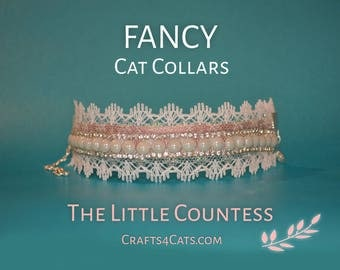 Pearl Cat Collar 'The Little Countess' - Satin Cat Collar with Rhinestones, Faux Pearls and Lace - New Year cat collars - bling cat collar