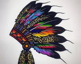 Indian Headdress Womens Shirt Serape Shirt Native BOHO