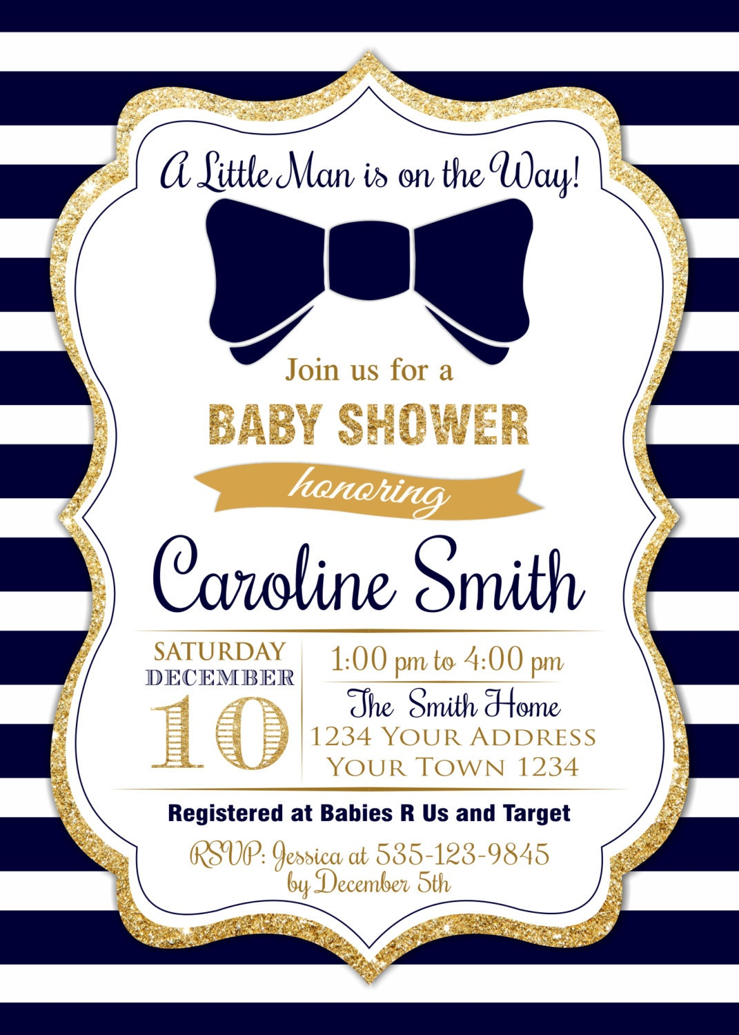 Bow Tie Baby Shower Invitations. Printable Blue Gold Baby Shower ...