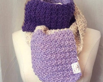 READY TO GO/ Hook/ Crochet/ As seen/ color blocks scarf in lilac/cream/beige