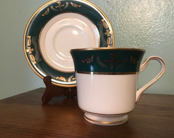 SALE!!! Hankook Fine Bone China Teacup and Saucer Set - Green & Gold