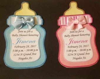 10 Baby shower invitations - it's a boy - it's a girl - baby bottle