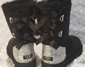 Bling Ugg Bailey Bow, Women's Custom Black Ugg Boots Swarovski Crystal Bling Australian Fur Boots, Snow Boots, Bling Boots