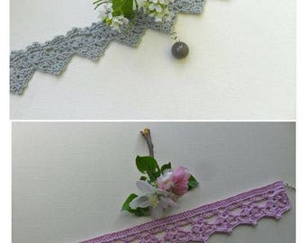 SALE 2 crocheted choker necklaces, victorian style necklaces, grey and pink, romantic, spring and summer, gift for her