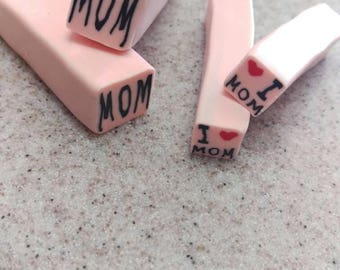 Word raw canes, mom canes and I love you Mom cane set. Raw clay canes words.