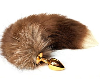 Brown fox tail butt plug - Genuine fox fur - Small anal plug - Anal accessory - Adult toy - Red fox tail petplay - Gold butt plug - Mature