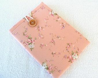 "Pretty Peach Floral Kindle DX, Kindle DX White, Samsung Galaxy Tab2 Cover Sleeve. Very Shabby Chic Print, 12""x 8 1/2"""