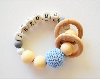 Teething rattle | Baby Rattle | Teething Ring | Name | Wooden Ring | Silicone beads | Baby Toy | Personalized | Blue